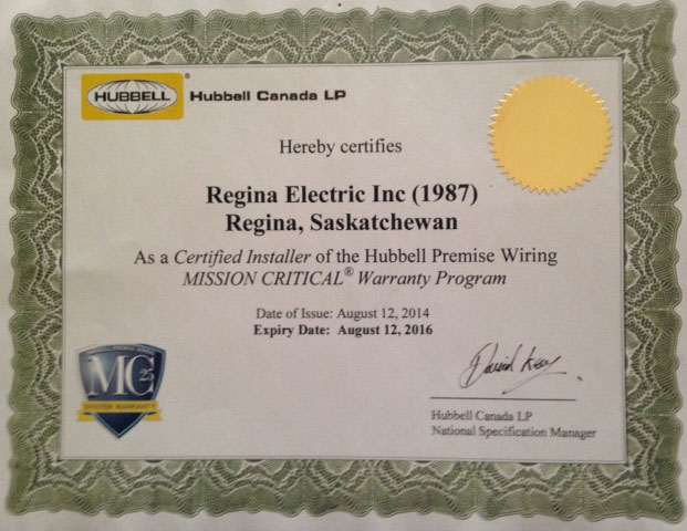 Certified installer of Hubbell Premise Wiring