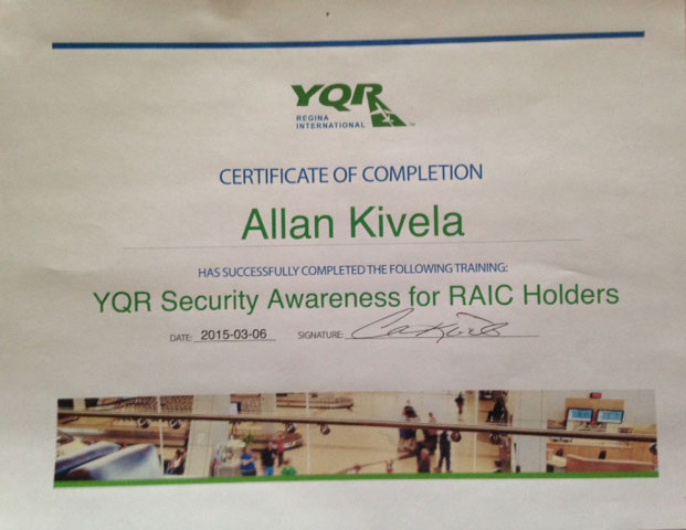 YQR Security Awareness for RAIC Holders certificate of completion
